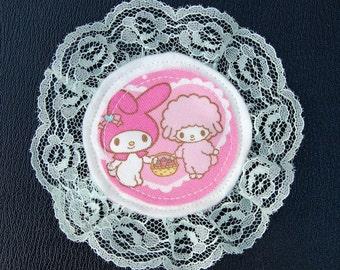 Cute pink kawaii my melody lace pin brooch