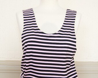 Pink and black striped kawaii vest tank top