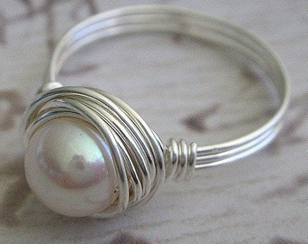 Wire Wrapped Ring with a White Freshwater Pearl and Handmade with Sterling Silver