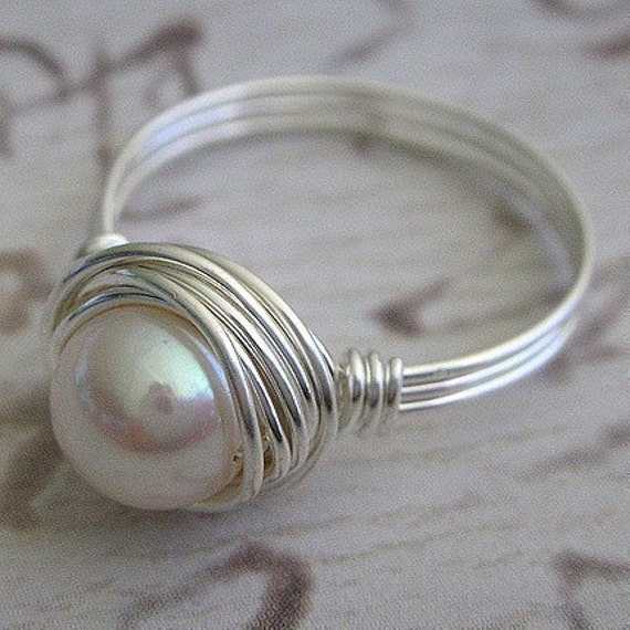 Sterling Silver Wire Wrapped Pearl Ring