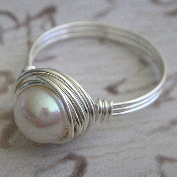 Pearl Ring - Wire Wrapped ring - White Pearl Ring - Handmade with Sterling Silver