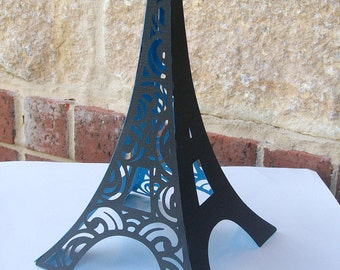 3D Eiffel Tower Table Centerpiece - Cake Topper - in Black with Parisian Blue Interior - FULLY ASSEMBLED