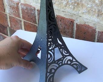 3D Eiffel Tower Table Centerpiece in a Textured Gun Metal Grey - FULLY ASSEMBLED