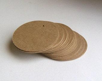 Round Die Cut Circle Tags with Holes - Brown Kraft Paper 2 inch (set of 40)
