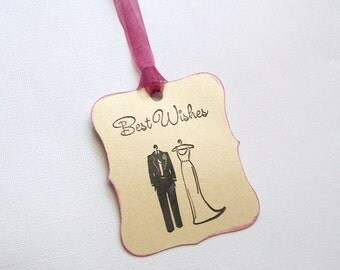 Wedding Wish Tree Tags - Small Best Wishes with Bride and Groom - Scalloped (set of 50)