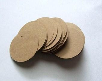 Round Die Cut Circle Tags with Holes - Brown Kraft Paper 2 inch (set of 80)