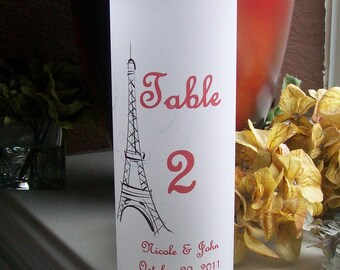 Vellum Luminarie Lantern - Table Number - Personalized with Eiffel Tower - Paris - Parisian