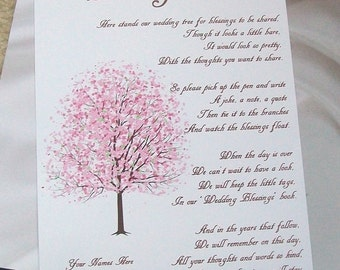 Wishing Tree Tags - Instructions Sign - Cherry Blossoms - Customize For Your Event