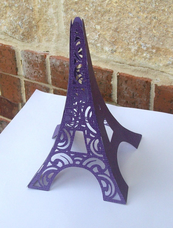 3D Eiffel Tower Table Centerpiece or Cake Topper in Purple