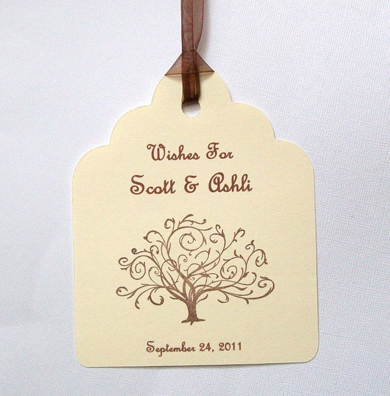 Wedding Wishing Tree Tags - Wish For the Bride and Groom with Tree - Customized with Names and Wedding Date (set of 50)