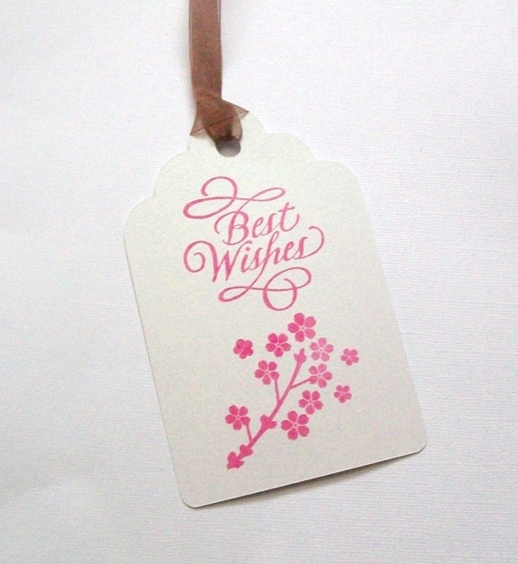 Wedding Wishing Tree Tags With Cherry Blossoms - Spring Tree - Asian Inspired Blossom (set of 50)