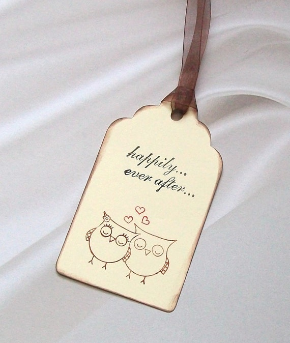 Wedding Wishing Tree Tags - Owls in Love - Happily Ever After Owl (set of 50)