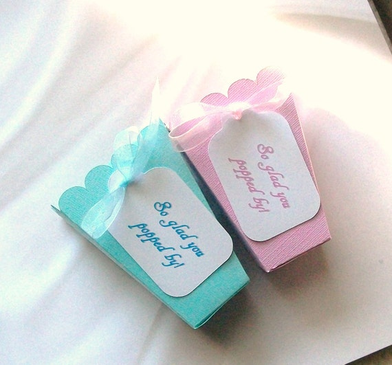 RESERVED FOR webb799 - Party Favor Popcorn Shaped Boxes - Customized Tag (20 blue) - (20 pink)