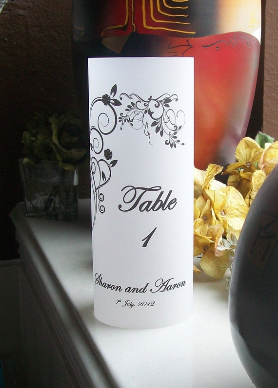 Vellum Luminarie Lantern Table Number - Personalized with Vining Hearts - Luminaria - Lantern