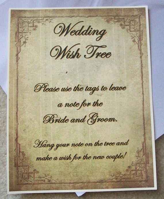 Wishing Tree Tags - Instructions Sign - Customize For Your Event - Rustic - Vintage - Antique