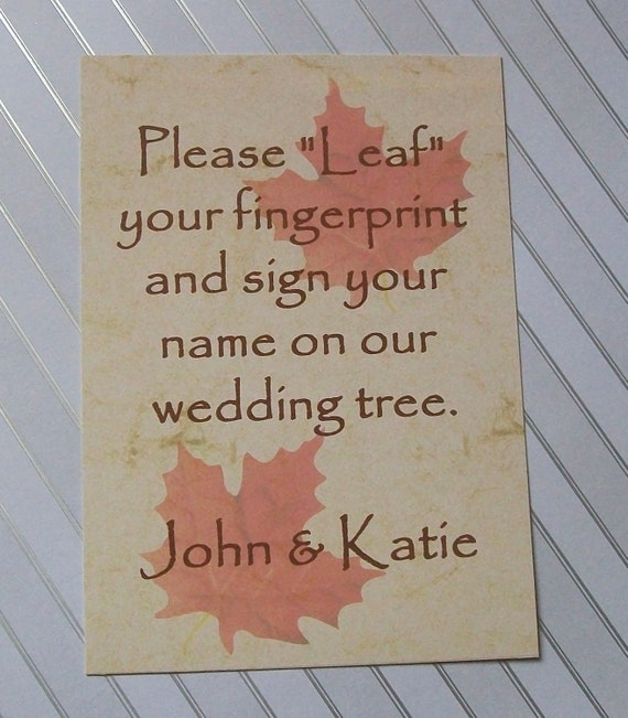 Fingerprint Wedding Tree Guestbook - Instructions Sign