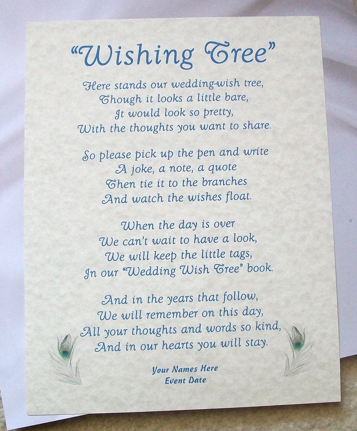 Wishing Tree Tags Instructions Sign Rustic Peacock Theme