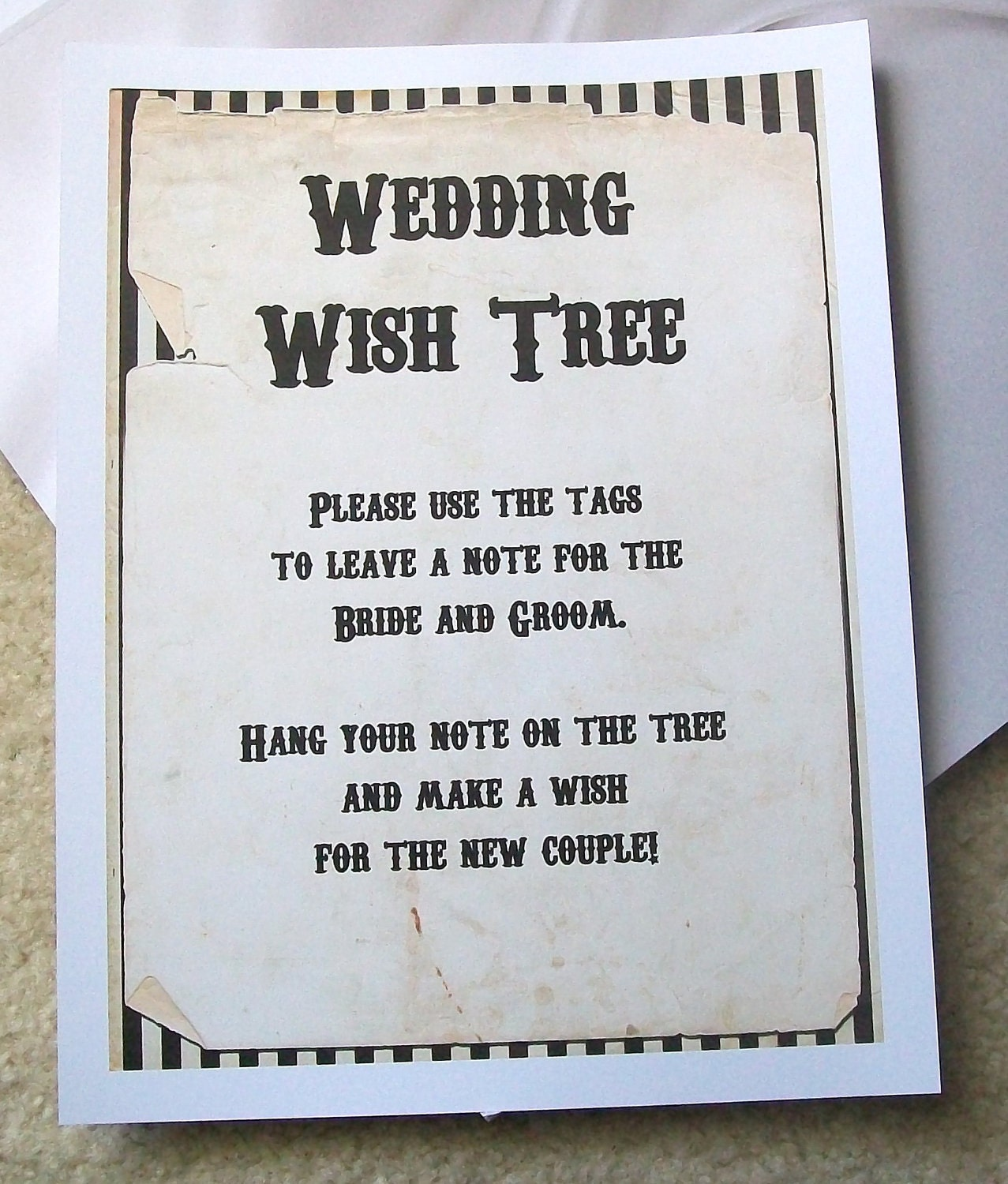 Monetary Wedding Gift Guidelines : Wishing Tree Tags Instructions Sign Customize For by paperpixie