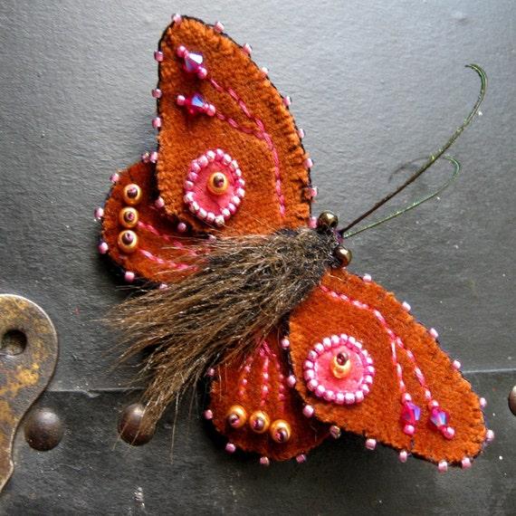Small Rust Velvet Moth Brooch