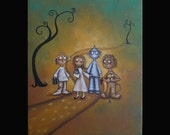 48 Hours - 50 Percent Off SALE -- Original Whimsical Art Painting - FOLLOW THE YELLOW BRICK ROAD - Wizard of Oz