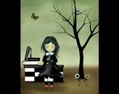 Clearance - Goth Girl and Owls Art Print -- The Owl Whisperer