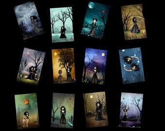 Zodiac Girls MIni Print Collection of 12 - Astrology - Horoscope - Mystic - Fantasy