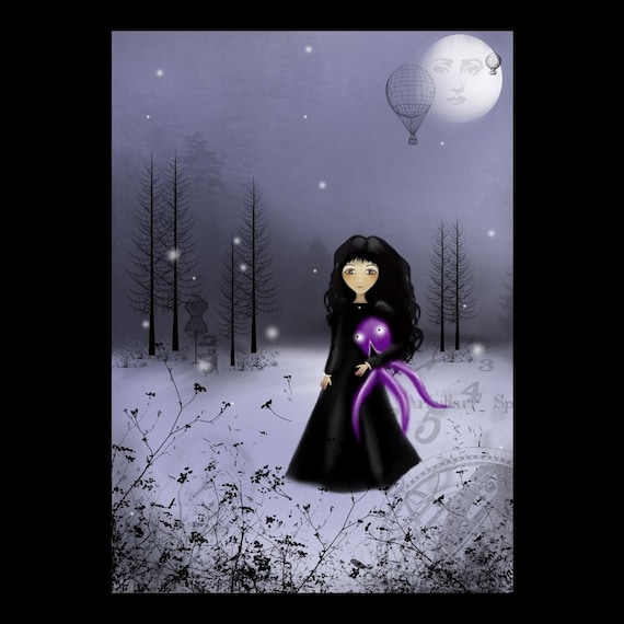 5 Dollar Print SALE - SHOP SALE ---  Dark Steampunk Goth Girl Art Print  --- MAN IN THE MOON