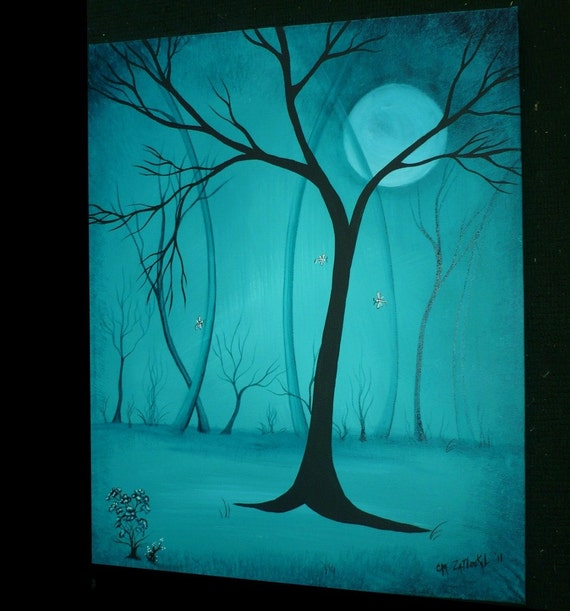 Original  Abstract Bare Tree Painting --16x20 -- Somewhere In the Night - Clearance SALE 1 Week Only
