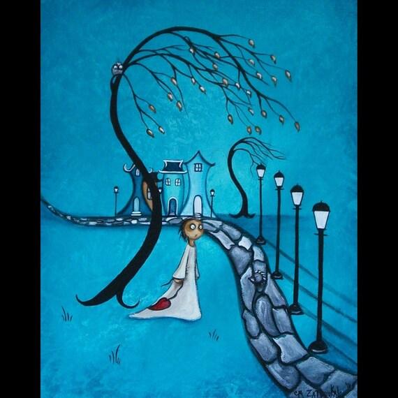 Original Whimsical Art Canvas Creeper Painting -- After Dark -- Hedgehog - Street Lights - Village - SALE