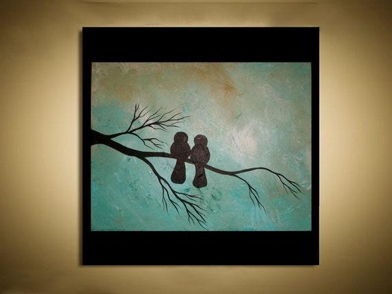 Original Abstract Textured Bird Art Painting -- Contemporary -  Texturs --11x14 -- Blackbird Love