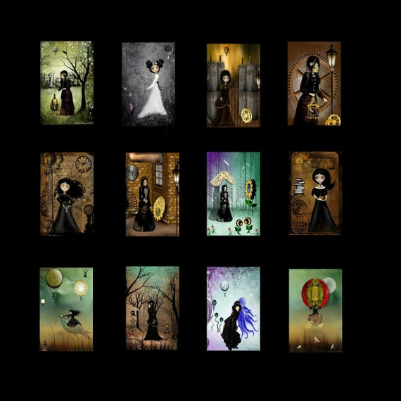 Steampunk Girls MIni Print Collection of 12 - Science Fiction - Fantasy - Industrial