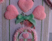 Vintage Style Heart Easter Spring Rose Glitter Cottage green pink