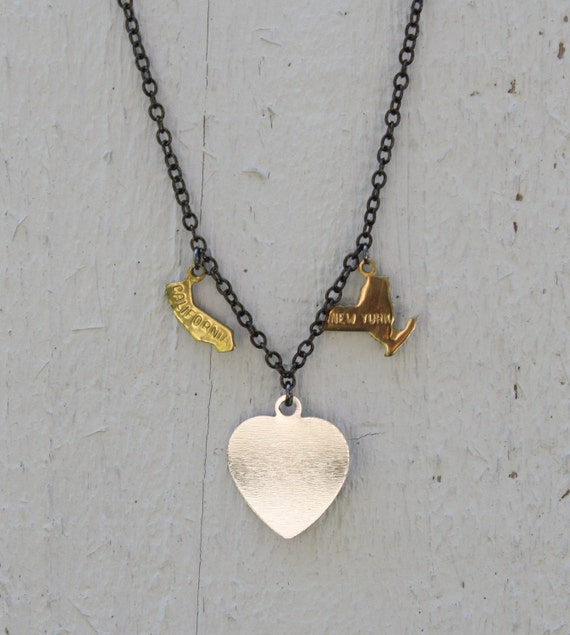 Long Distance Love Necklace - state necklace, bicoastal, valentines day, long distance relationship, bestfriends