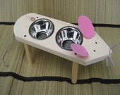 The Mouse, Raised Cat Bowl, Cat Dish/Feeder, Handmade, Very Cute