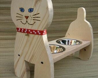 Raised Cat Bowl, Cat Dish/Feeder,15 in. High, Handmade, Painted Eyes, Bobtail