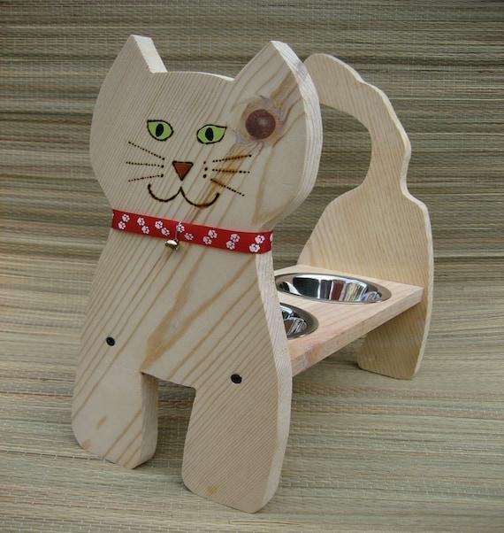 Raised Cat Bowl, Cat Dish Feeder, 15 in. High, Handmade, Painted Eyes, Full Tail