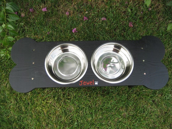 Painted Black, Medium to Large Dog, Raised Bone Dog Bowl, Dog Dish/ Feeder,Give a Dog a Bone, Handmade, 'The Mega Bone - 2 Bowl'