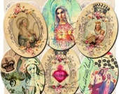 INSTANT DIGITAL DOWNLOAD - Virgin Mary Religious Icons - 30 x 40 mm Ovals - Original Collage Designs - for Pendants Jewelry Charms Necklaces