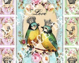 INSTANT DIGITAL DOWNLOAD - Printable Collage Sheet - Candy Colored Birds and Crowns - 1x2 inch Domino Pendant - Microscope Glass Pendant