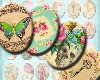 INSTANT DOWNLOAD Antique Wallpaper Vintage French Ephemera - Digital Collage Sheet - Victorian Skulls Birds Butterflies - 30 x 40 mm Ovals