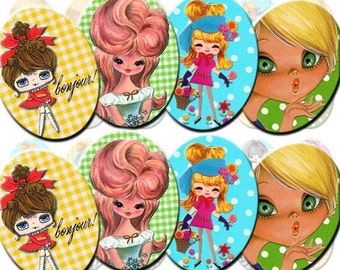 INSTANT DIGITAL DOWNLOAD - Retro Mod 70's Big Eyed Pose Dolls - Printable Collage Sheet - 30 x 40 mm Ovals for Jewelry - Gingham Polka Dots
