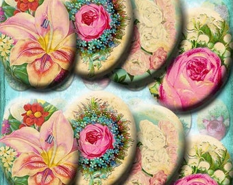 INSTANT DIGITAL DOWNLOAD - Vintage Victorian Botanicals Roses Flowers - Printable Collage Sheet - 30 x 40 mm Ovals - Pendants Jewelry