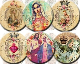 INSTANT DIGITAL DOWNLOAD - Virgin Mary Religious Icons - Printable Collage Sheet 1 Inch Circles - Original Designs Jewelry Necklaces