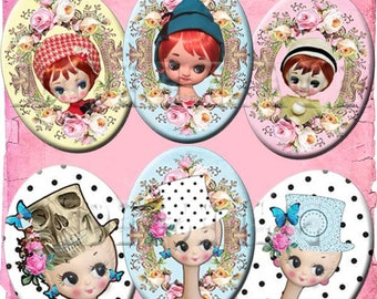 INSTANT DOWNLOAD Retro Mod 60's Big Eyed Twiggy Pose Dolls - Vintage Kawaii Digital Collage Sheet - 30X40 mm Jewelry Ovals - Polka Dots