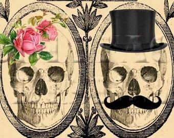 Printable DIY Wedding Invitation Suite - Digital Download - Customized Gothic Victorian Skull Day of The Dead Vintage Wedding Invitation