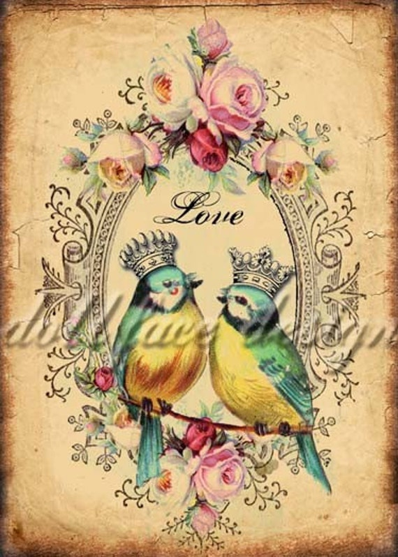 Printable Victorian Love Birds