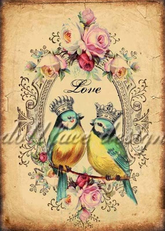 Printable Victorian Love Birds