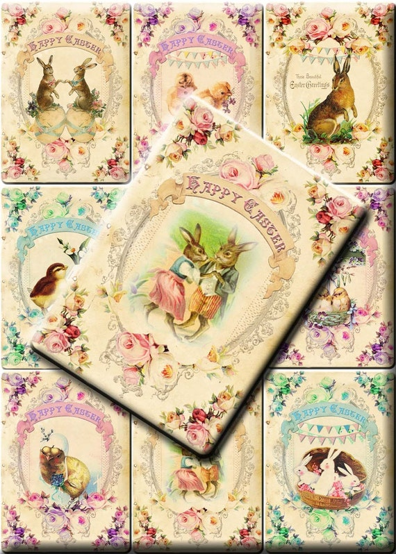 INSTANT DOWNLOAD Easter Love Bunnies and Charming Chicks - Printable Digital Download - Set of 9 Vintage Victorian Easter Gift Tags