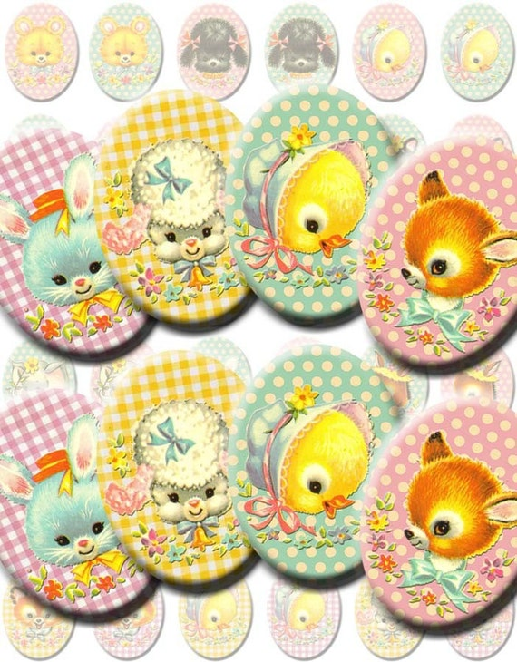 INSTANT DIGITAL DOWNLOAD - Kawaii Vintage Baby Animals - Printable Collage Sheet - 30 x 40 mm Ovals Jewelry - Gingham Polka Dots