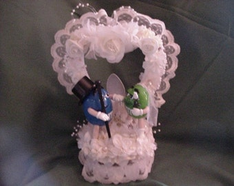 M & M wedding CAKE TOPPER nascar racing fans blue green